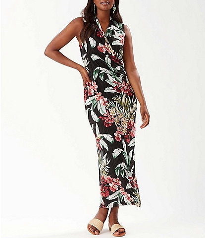 Tommy Bahama Oceanic Orchid Floral Print Sleeveless Ruched Waist Faux Wrap Maxi Dress