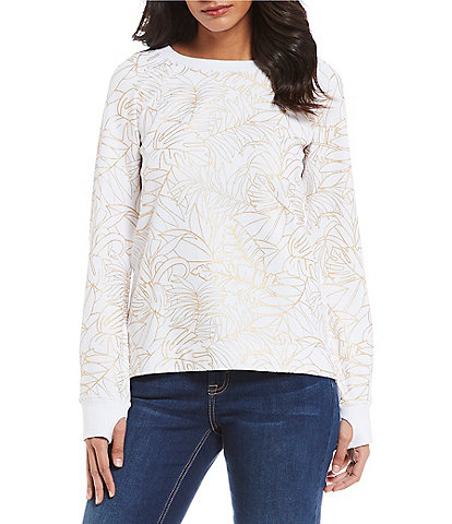 Tommy Bahama On Golden Fronds Palm Print Top