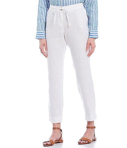 Tommy Bahama Palmbray Yarn Dyed Chambray Linen Tapered Ankle Pants