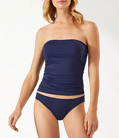 Tommy Bahama Pearl Solids Long Shirred Tummy Control Bandini Swim Top & Pearl Solids Shirred Hipster Swim Bottom