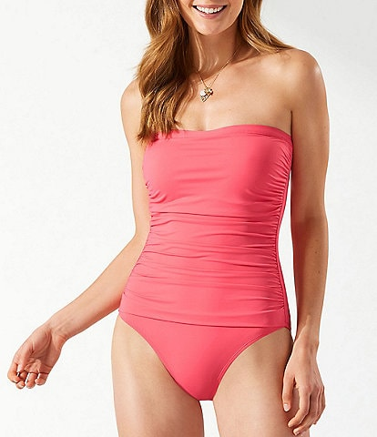 Tommy Bahama Pearl Solids Shirred Bandeau Tummy Control One Piece Swimsuit