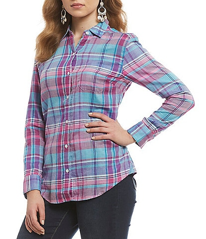 Tommy Bahama Plaid Button Front Long Sleeve Shirt