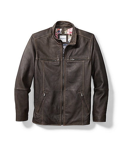 Tommy Bahama Rocker Highway Leather Jacket