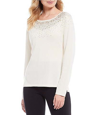 Tommy Bahama Silver Vista Long Sleeve Crew Neck Cotton & Cashmere Blend Embellished Top