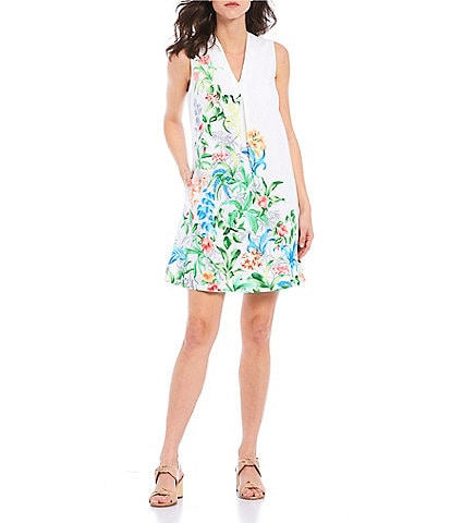 Tommy Bahama Tambay Trellis Sleeveless Stretch Shift Dress