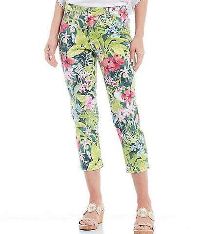Tommy Bahama Tropolicious Print Stretch Denim Mid Rise Cropped Jeans