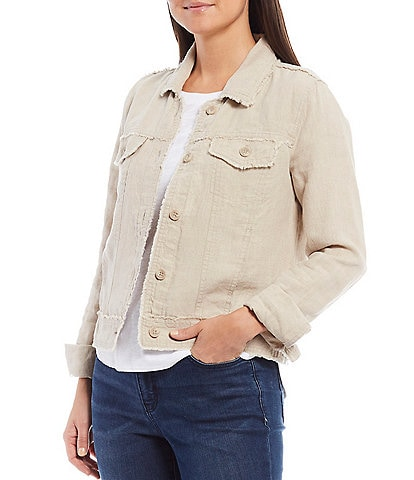 Tommy Bahama Two Palm Raw Edge Point Collar Button Front Jacket