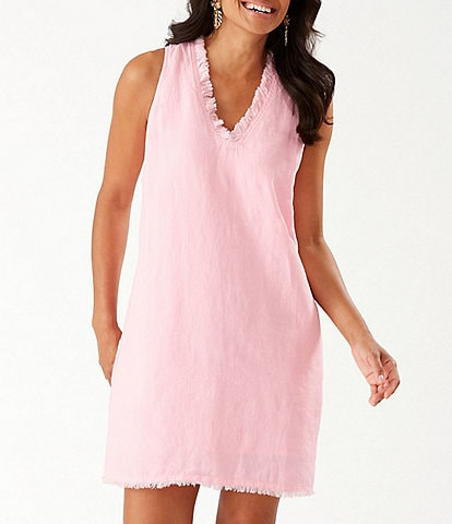 Tommy Bahama Two Palms Ruffle V-Neck Sleeveless Linen Shift Dress