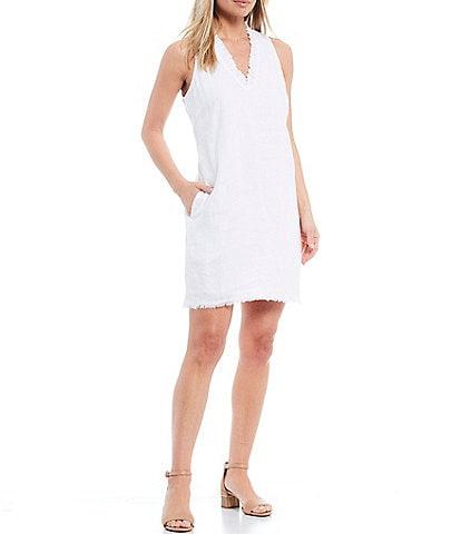 Tommy Bahama Two Palms Ruffle V-Neck Sleeveless Linen Shift Dress