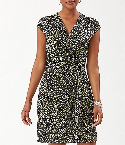 Tommy Bahama Wild One Cheetah Print Cap Sleeve Faux Wrap Dress