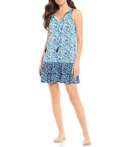 Tommy Bahama Woodblock Blossoms Split Neck Ruffle Spa Dress Swim Cover Up