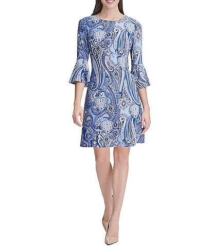Tommy Hilfiger 3/4 Bell Sleeve Paisley Dress