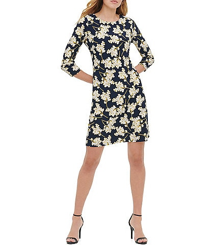 Tommy Hilfiger 3/4 Sleeve Blossom Printed Jersey Sheath Dress