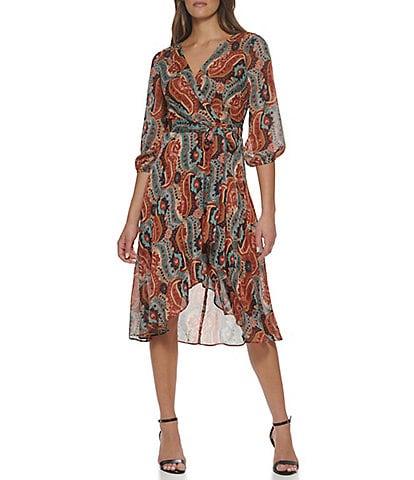 Tommy Hilfiger 3/4 Sleeve V-Neck Paisley Printed Chiffon Midi Dress