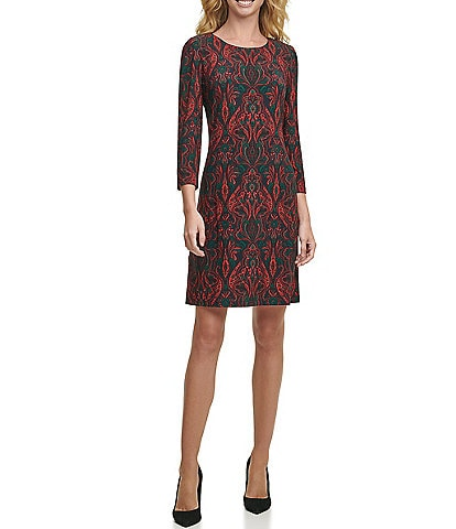 Tommy Hilfiger 3/4 Sleeve Jersey Paisley Print Sheath Dress