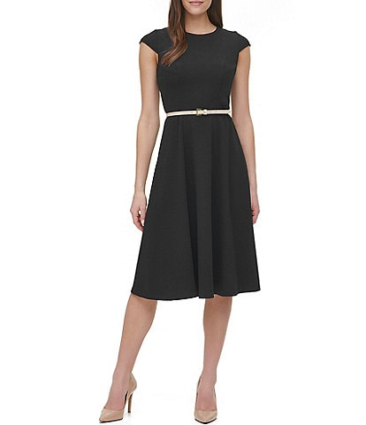 Tommy Hilfiger Belted Cap Sleeve Scuba Crepe Midi Dress