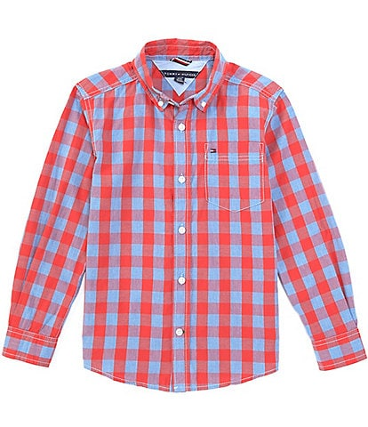 Tommy Hilfiger Big Boys 8-20 Long-Sleeve Plaid Button-Front Shirt