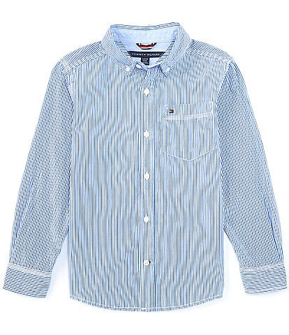 Tommy Hilfiger Big Boys 8-20 Long-Sleeve Stripe Button-Front Shirt