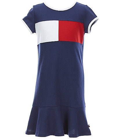 Tommy Hilfiger Big Girls 7-16 Pieced Flag Pique Dropwaist Dress