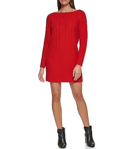 Tommy Hilfiger Cable Knit Boat Neck Long Sleeve Sweater Dress