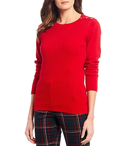 Tommy Hilfiger Cable Knit Crew Neck Cotton Button Shoulder Detail Sweater