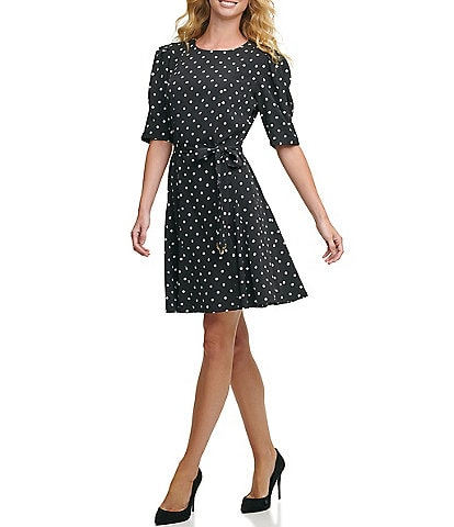 Tommy Hilfiger Classic Dot Twill Elbow Sleeve Fit & Flare Dress