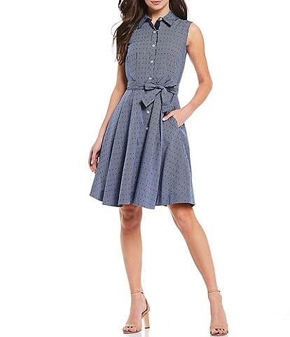 Tommy Hilfiger Clip Dot Cotton Sleeveless Shirt Dress