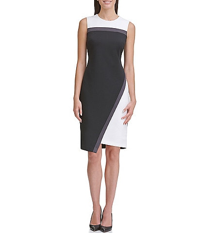 Tommy Hilfiger Colorblock Sleeveless Asymmetric Scuba Sheath Dress