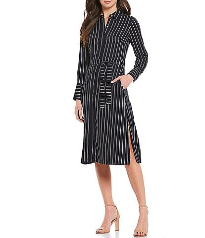 Tommy Hilfiger Corded Stripe Print Long Sleeve Belted Midi Shirt Dress