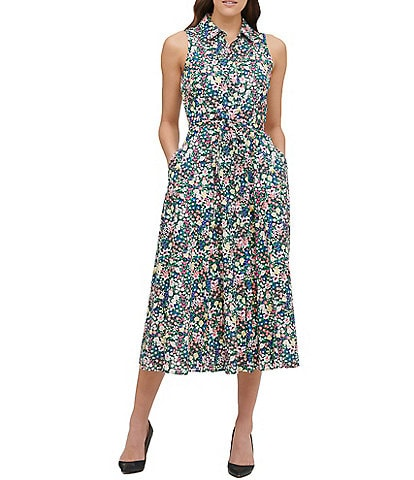 Tommy Hilfiger Cottage Garden Floral Print Button Front Sleeveless Cotton Midi Dress