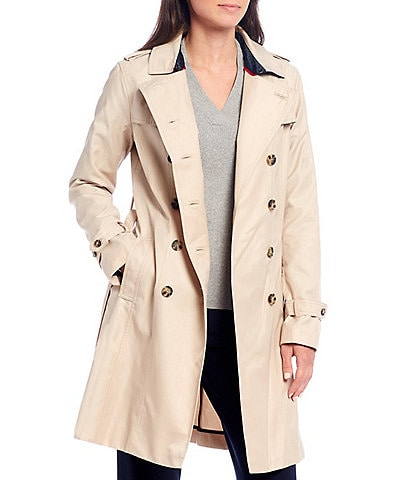 Tommy Hilfiger Cotton Blend Woven Double Breasted Classic Trench Coat
