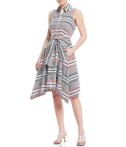 Tommy Hilfiger Cotton Heritage Stripe Print Sleeveless Button Front Belted Swing Shirt Dress