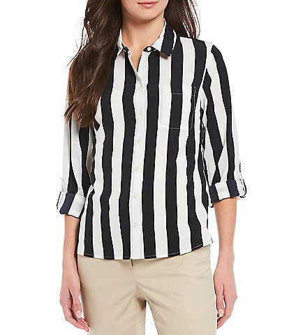Tommy Hilfiger Crepe de Chine Bold Stripe Roll-Tab Sleeve Button Front Top