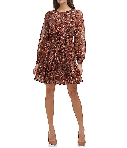 Tommy Hilfiger Crew Neck Long Sleeve Paisley Print Chiffon Fit-and-Flare Dress