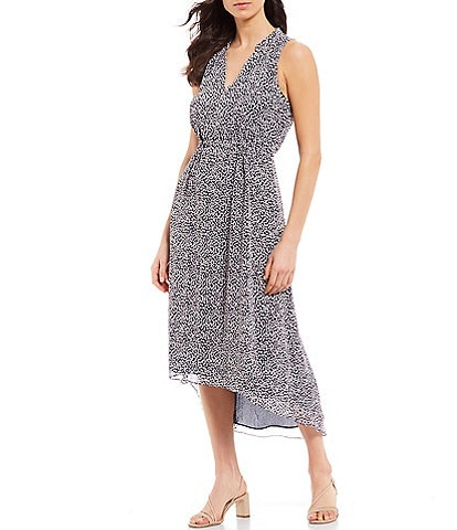 Tommy Hilfiger Ditsy Dot Print Chiffon V-Neck Sleeveless Hi-Low Midi Dress
