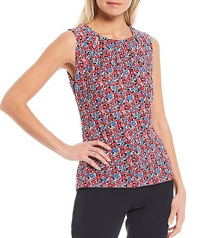 Tommy Hilfiger Ditsy Floral Print Matte Jersey Cut-Out Pleat Neck Shell