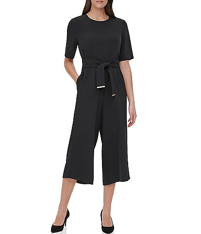 Tommy Hilfiger Double Twill Belted Crop Jumpsuit