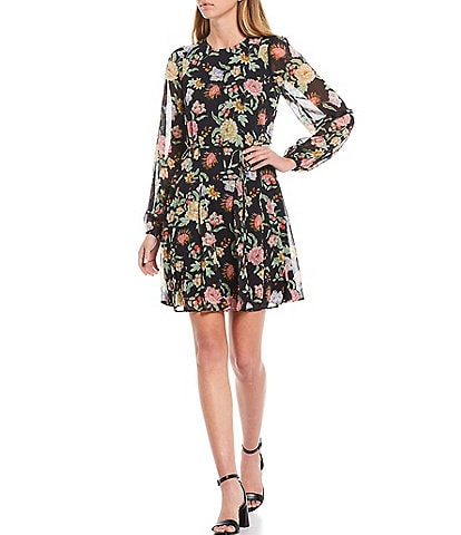 Tommy Hilfiger Floral Balloon Sleeve Chiffon Dress