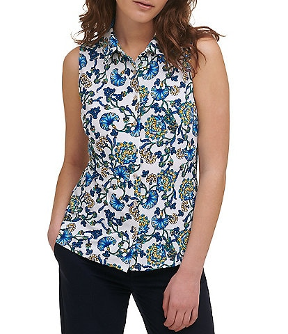 Tommy Hilfiger Floral Print Matte Jersey Point Collar Sleeveless Button Front Top