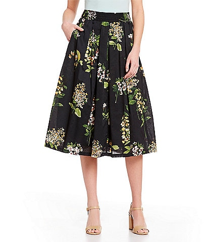 Tommy Hilfiger Floral Print Pull-On A-Line Midi Skirt