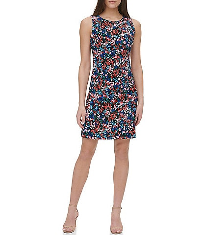 Tommy Hilfiger Floral Print Sleeveless Jersey Sheath Dress