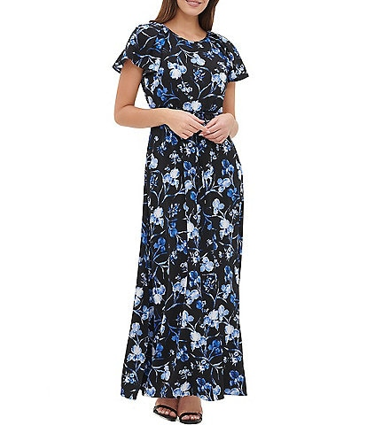 Tommy Hilfiger Floral Short Pleated Sleeve Tie Waist A-Line Maxi Dress