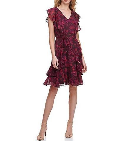 Tommy Hilfiger Flutter Sleeve Ruffle Tier Fit and Flare Dress