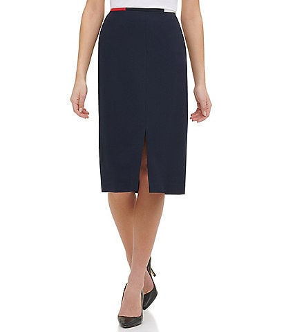 Tommy Hilfiger Front Slit Twill Contrast Waist Piping Pencil Skirt