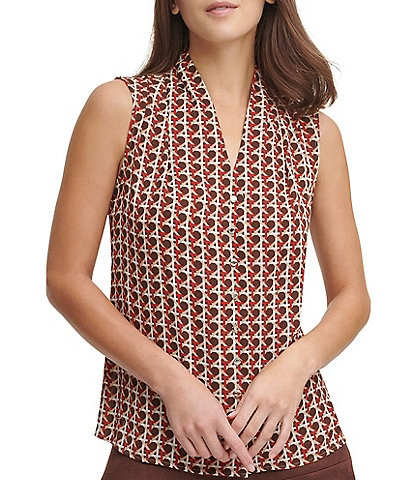 Tommy Hilfiger Geo Print Crepe de Chine V-Neck Button Front Sleeveless Top