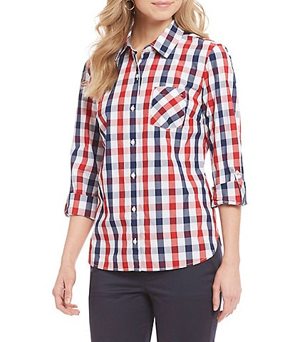 Tommy Hilfiger Gingham Print Roll-Tab Sleeve Button Front Shirt