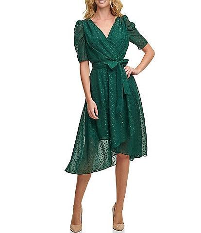 Tommy Hilfiger Glitter Clip Dot Chiffon Midi Dress