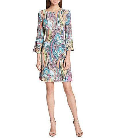 Tommy Hilfiger Jaipur Paisley Jersey Bell Sleeve Shift Dress
