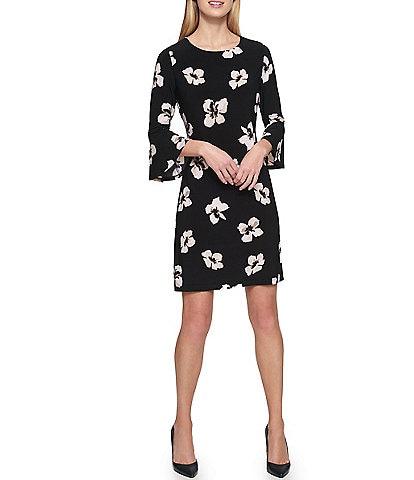 Tommy Hilfiger Jersey 3/4 Bell Sleeve Floral Print A-Line Dress