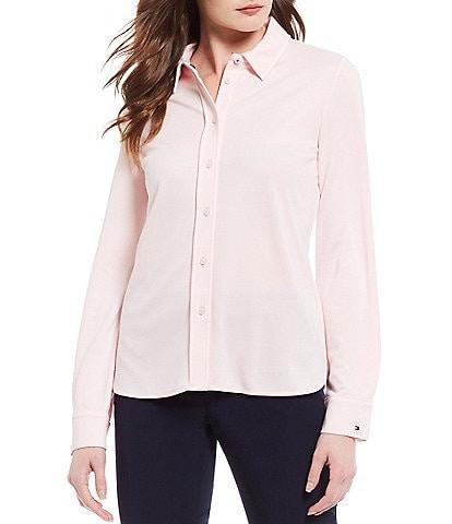 Tommy Hilfiger Knit Pique Button Down Point Collar Neck Long Button Cuff Sleeve Shirt